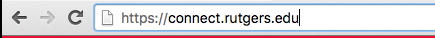 Image of the browser address bar with the URL connect.rutger.edu in it