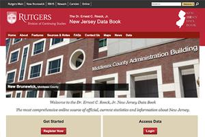 screenshot of NJ Data Book website